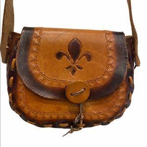 Handmade Leather Boho Vintage 90's Crossbody Bag